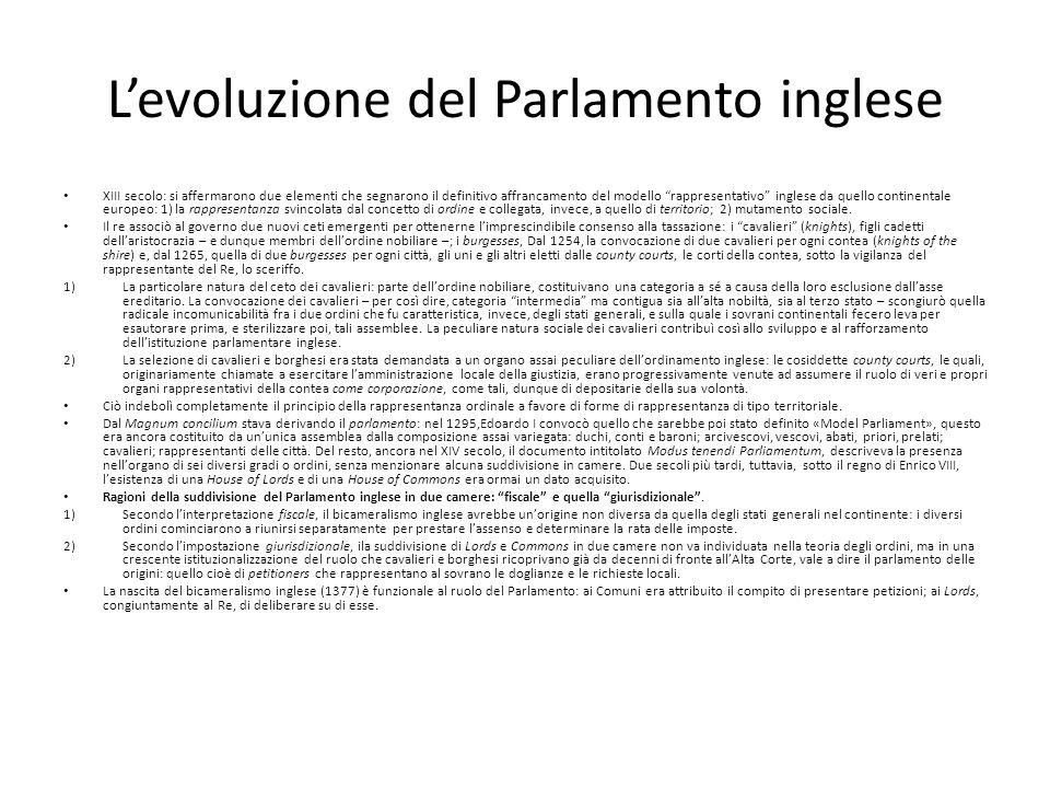 L'evoluzione del Parlamento inglese
