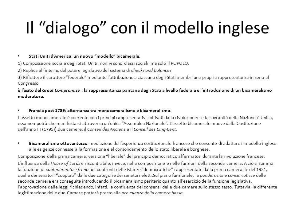 Il dialogo con il modello inglese