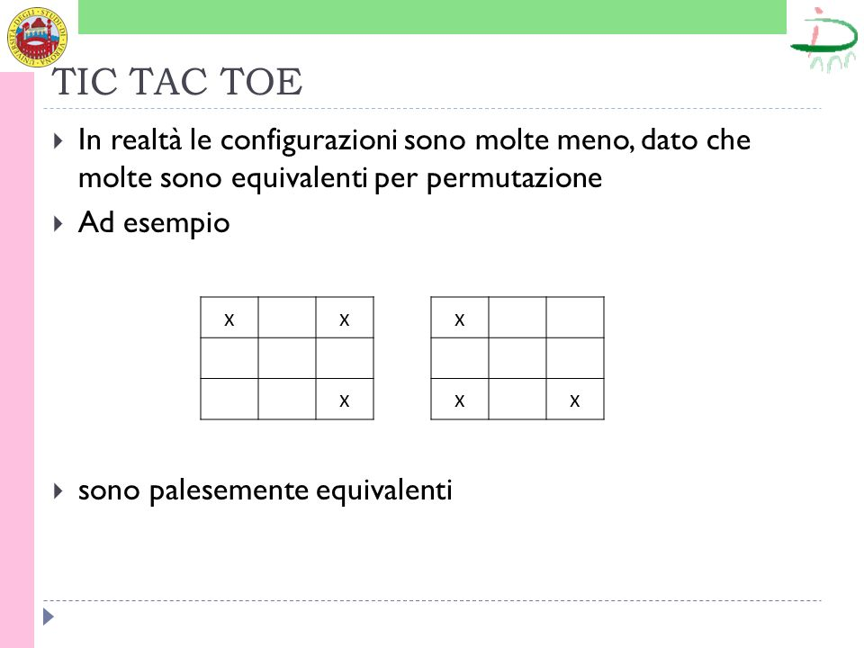 TIC TAC TOE In realtà le configurazioni sono molte meno, dato che molte sono equivalenti per permutazione.