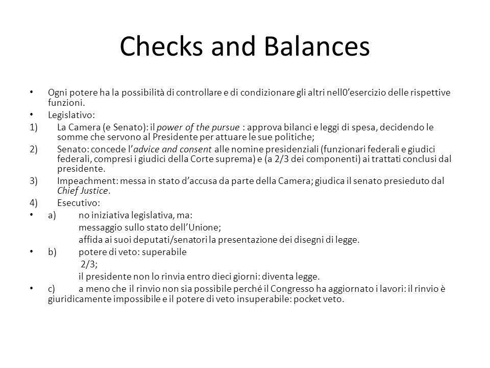 Checks and Balances Ogni potere ha la possibilità di controllare e di condizionare gli altri nell0'esercizio delle rispettive funzioni.