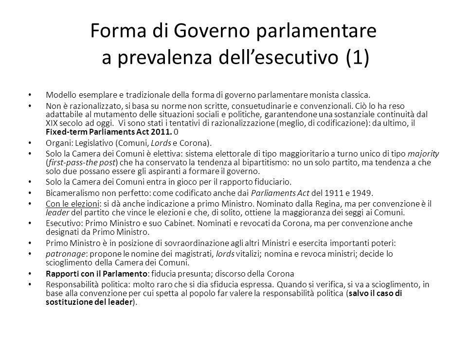 Forma di Governo parlamentare a prevalenza dell'esecutivo (1)