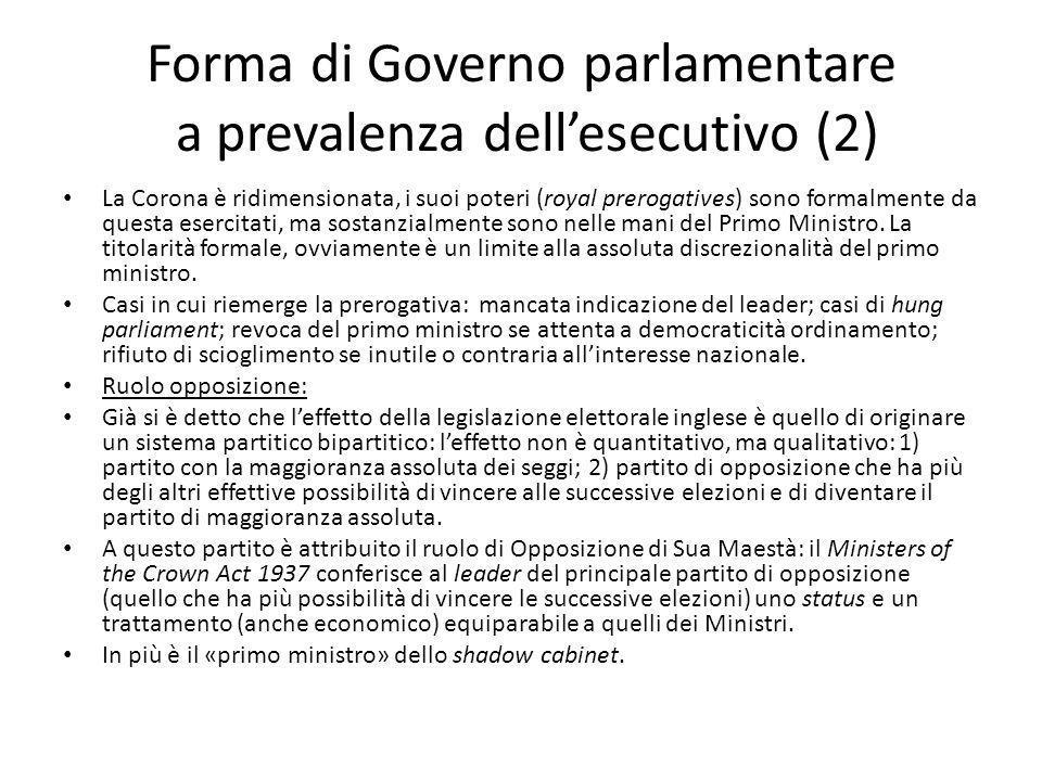 Forma di Governo parlamentare a prevalenza dell'esecutivo (2)