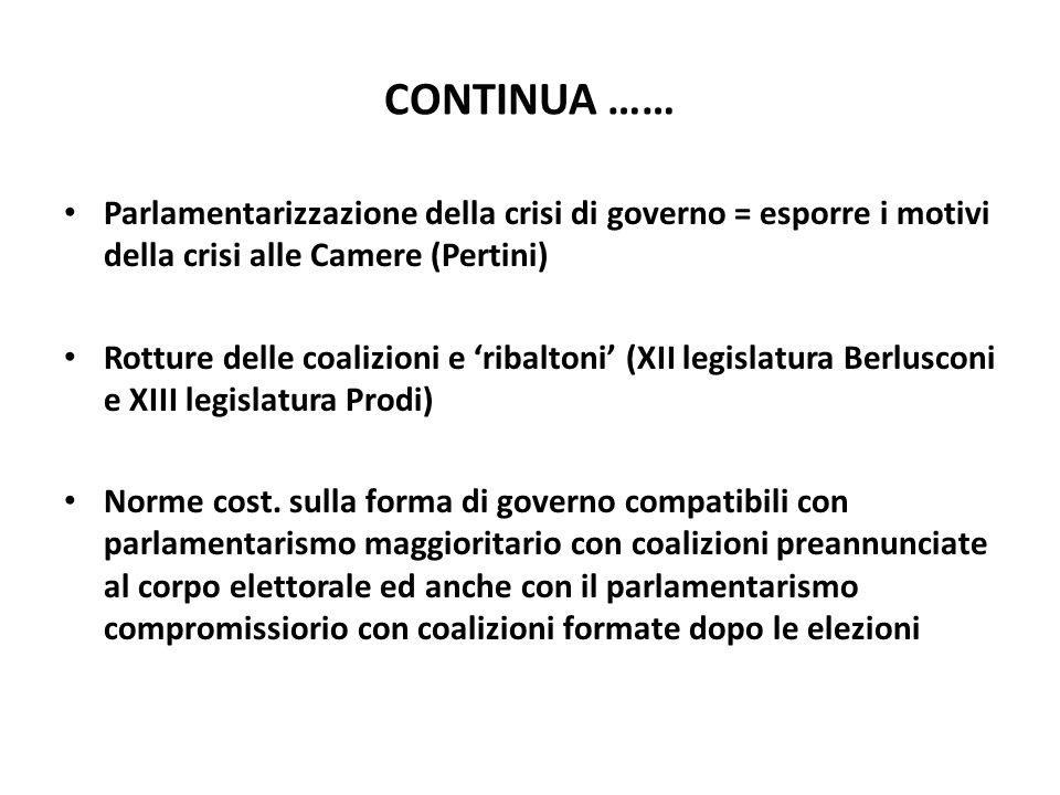 CONTINUA …… Parlamentarizzazione della crisi di governo = esporre i motivi della crisi alle Camere (Pertini)