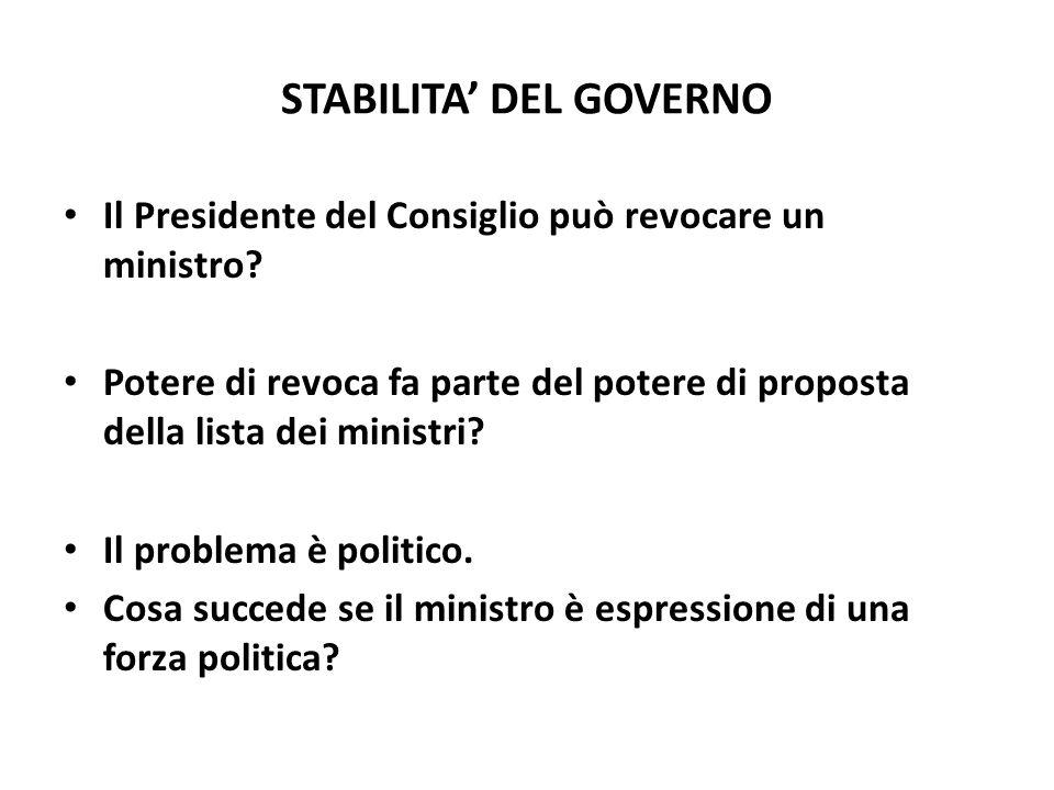 STABILITA' DEL GOVERNO