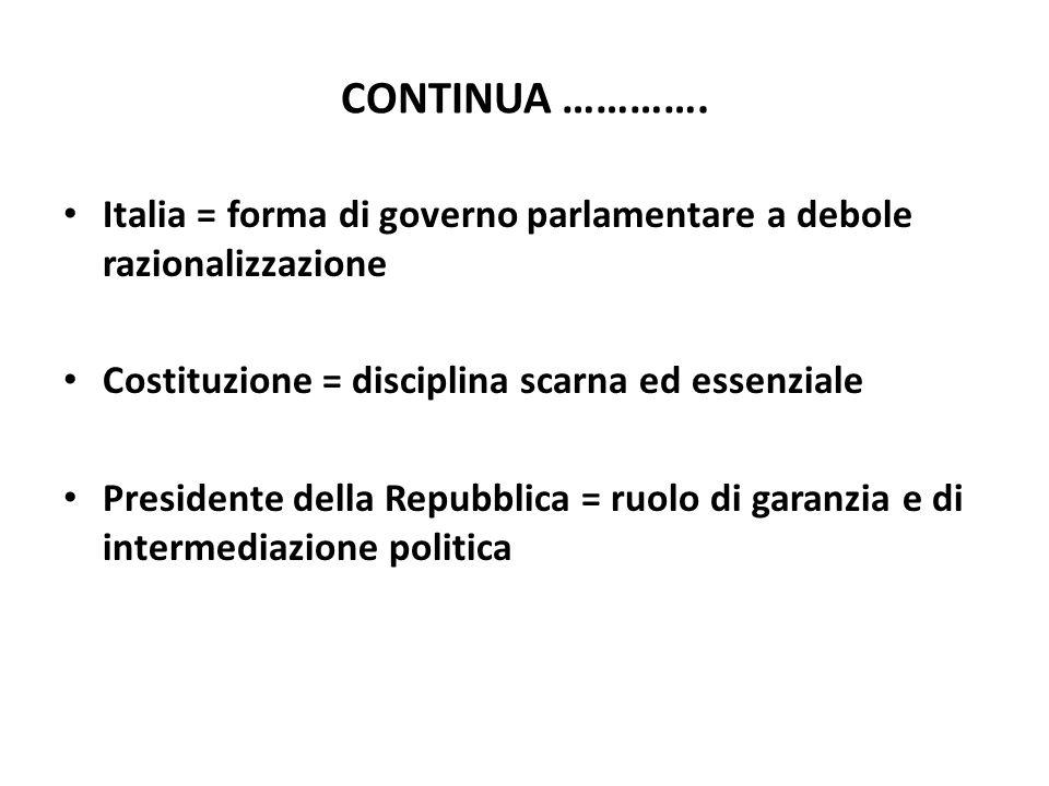 CONTINUA …………. Italia = forma di governo parlamentare a debole razionalizzazione. Costituzione = disciplina scarna ed essenziale.