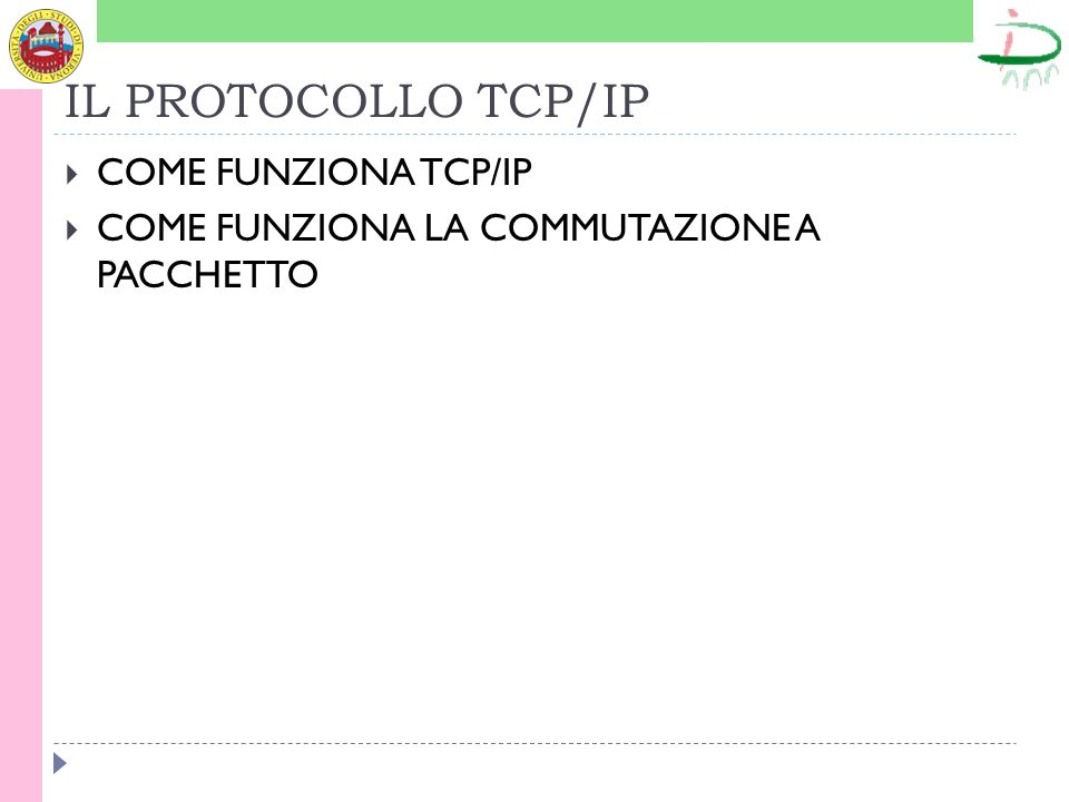 IL PROTOCOLLO TCP/IP COME FUNZIONA TCP/IP