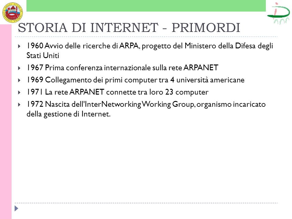 STORIA DI INTERNET - PRIMORDI