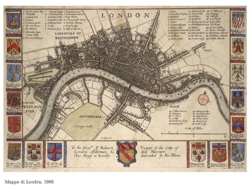 Mappa di Londra, 1666.