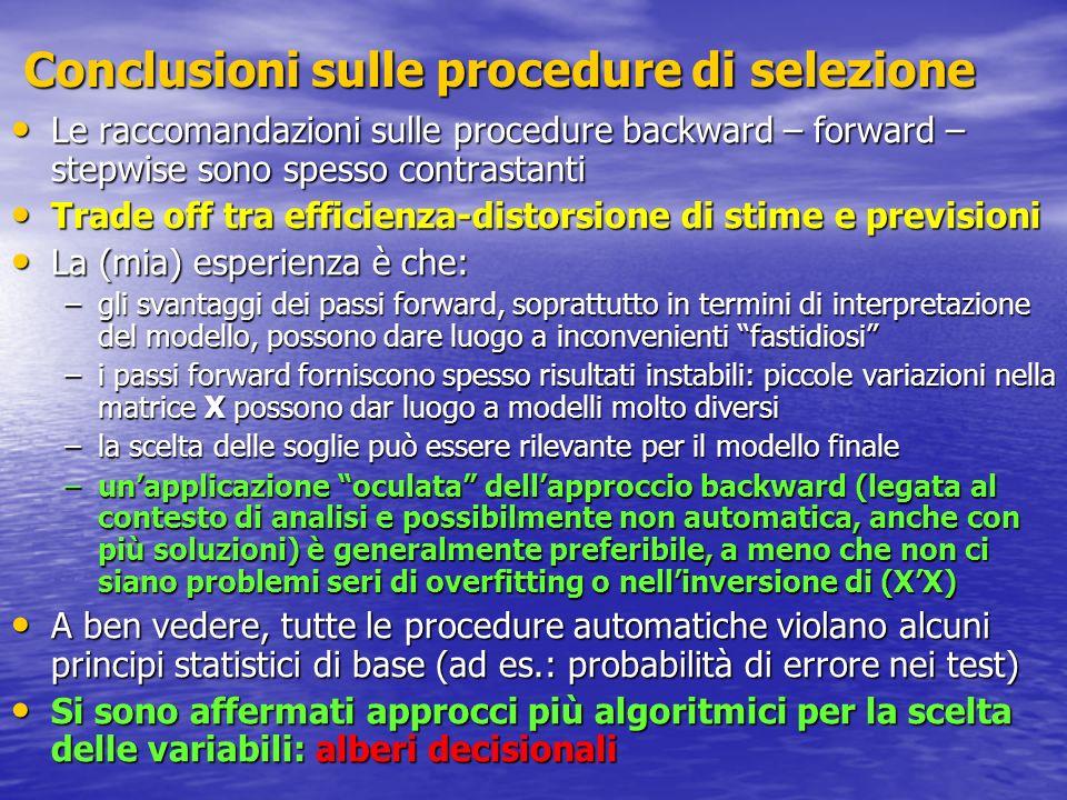 Conclusioni sulle procedure di selezione