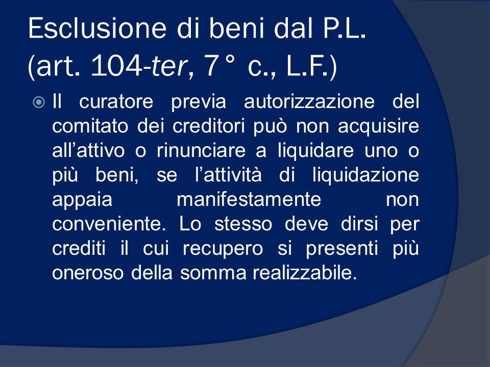 Esclusione di beni dal P.L. (art. 104-ter, 7° c., L.F.)
