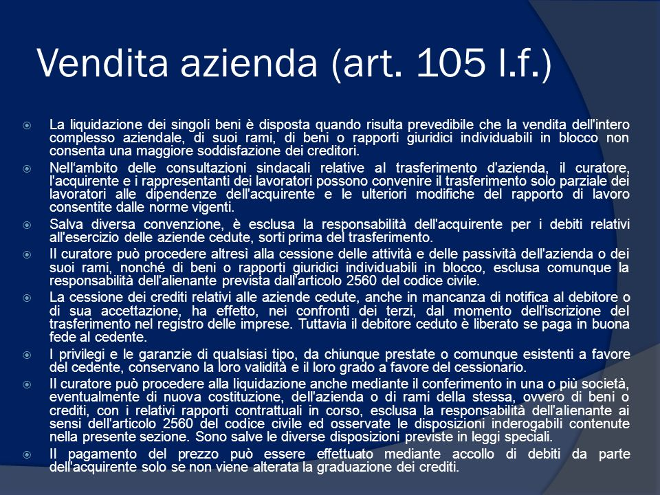 Vendita azienda (art. 105 l.f.)
