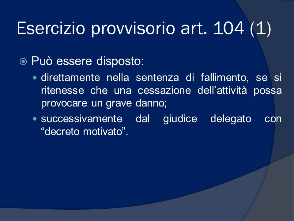 Esercizio provvisorio art. 104 (1)