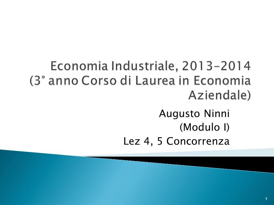 Augusto Ninni (Modulo I) Lez 4, 5 Concorrenza