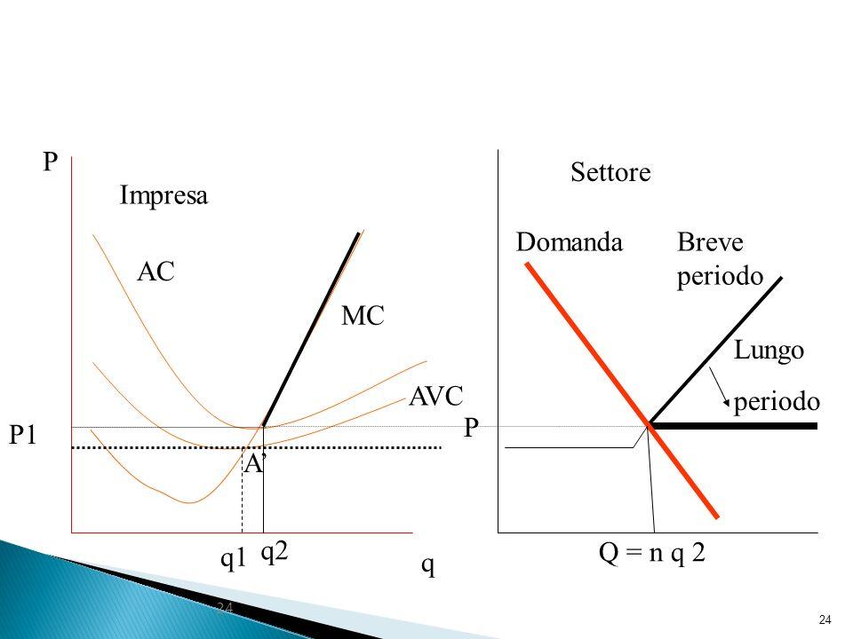 P Settore Impresa Domanda Breve periodo AC MC Lungo periodo AVC P P1