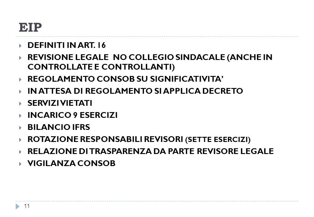 EIP DEFINITI IN ART. 16. REVISIONE LEGALE NO COLLEGIO SINDACALE (ANCHE IN CONTROLLATE E CONTROLLANTI)