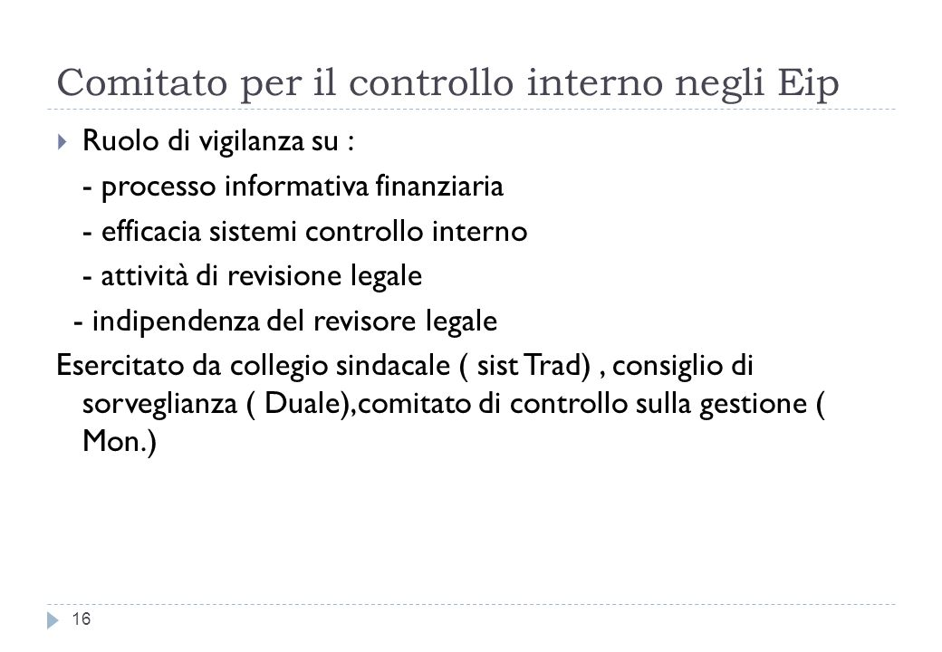 Comitato per il controllo interno negli Eip