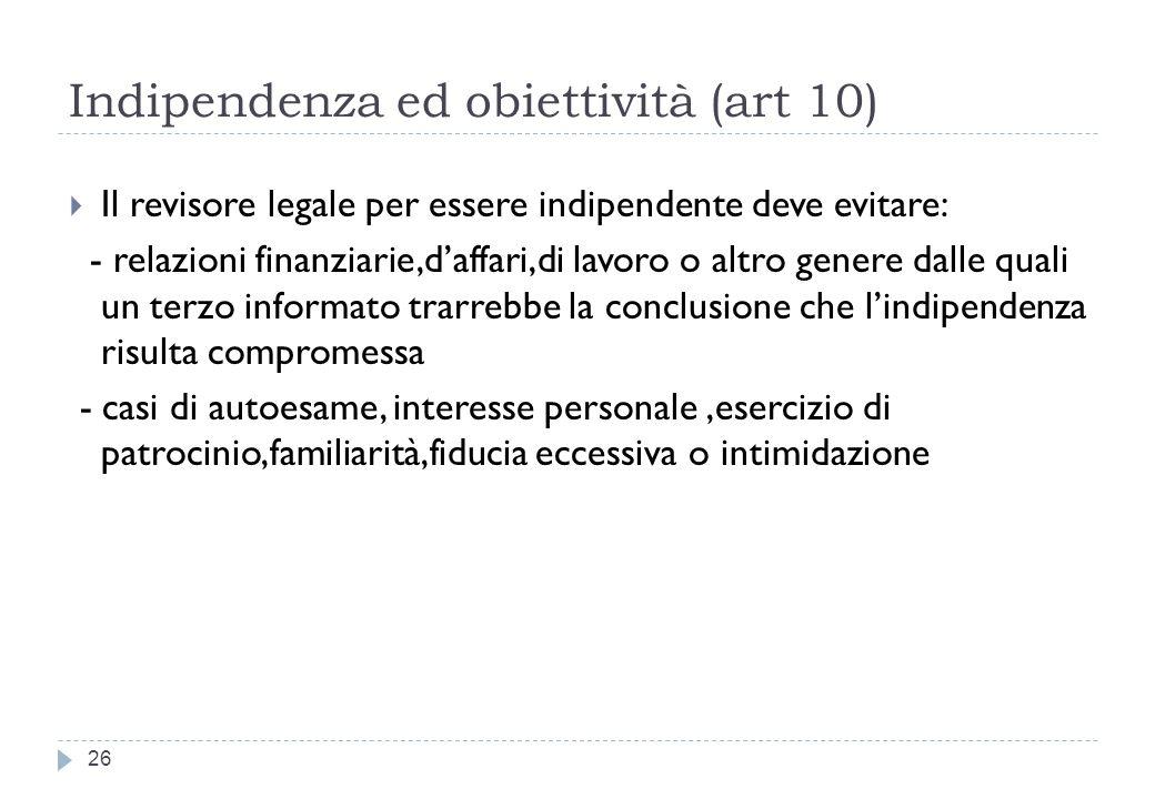 Indipendenza ed obiettività (art 10)