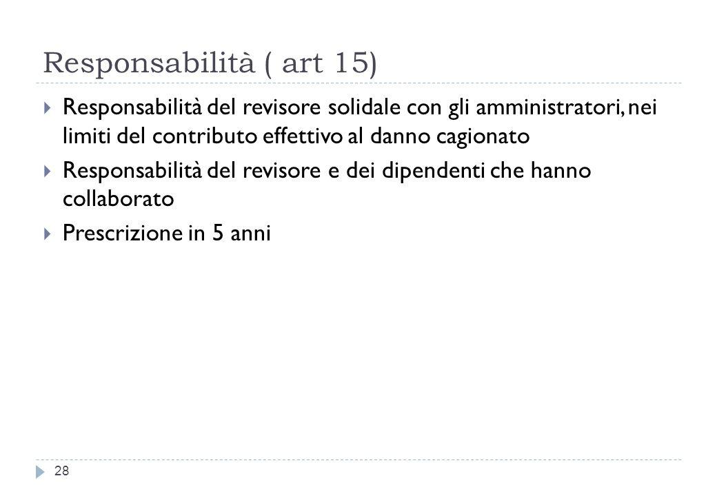 Responsabilità ( art 15) Responsabilità del revisore solidale con gli amministratori, nei limiti del contributo effettivo al danno cagionato.