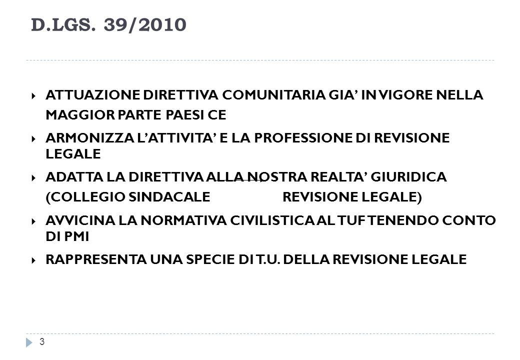D.LGS. 39/2010 ATTUAZIONE DIRETTIVA COMUNITARIA GIA' IN VIGORE NELLA