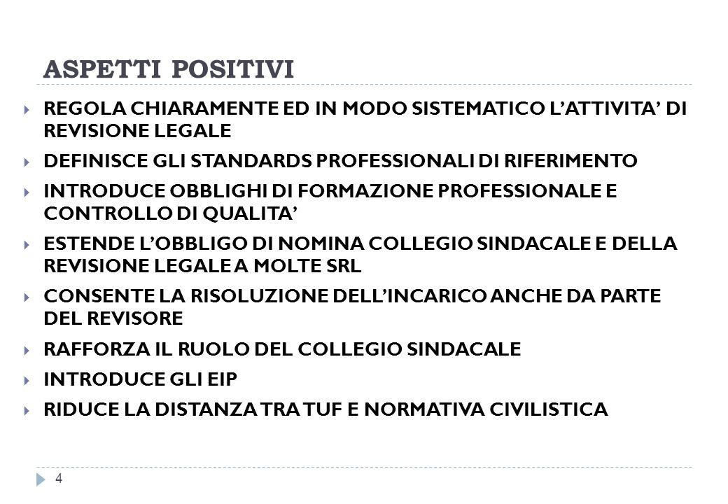 ASPETTI POSITIVI REGOLA CHIARAMENTE ED IN MODO SISTEMATICO L'ATTIVITA' DI REVISIONE LEGALE. DEFINISCE GLI STANDARDS PROFESSIONALI DI RIFERIMENTO.