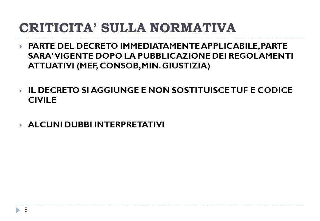 CRITICITA' SULLA NORMATIVA