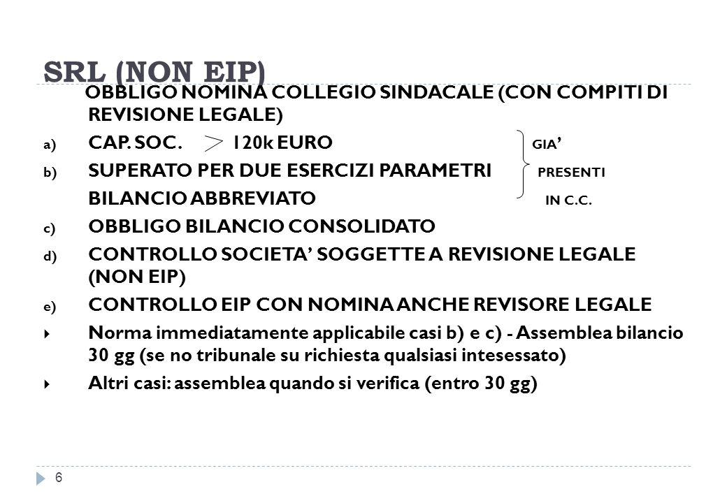 SRL (NON EIP) OBBLIGO NOMINA COLLEGIO SINDACALE (CON COMPITI DI REVISIONE LEGALE) CAP. SOC. 120k EURO GIA'