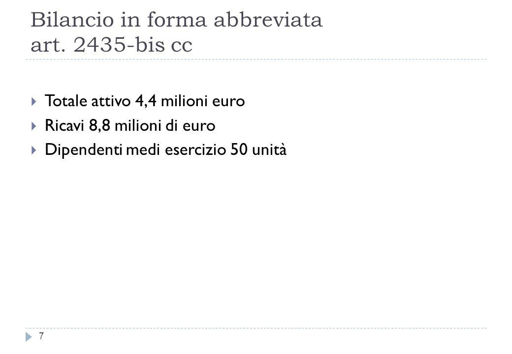 Bilancio in forma abbreviata art. 2435-bis cc