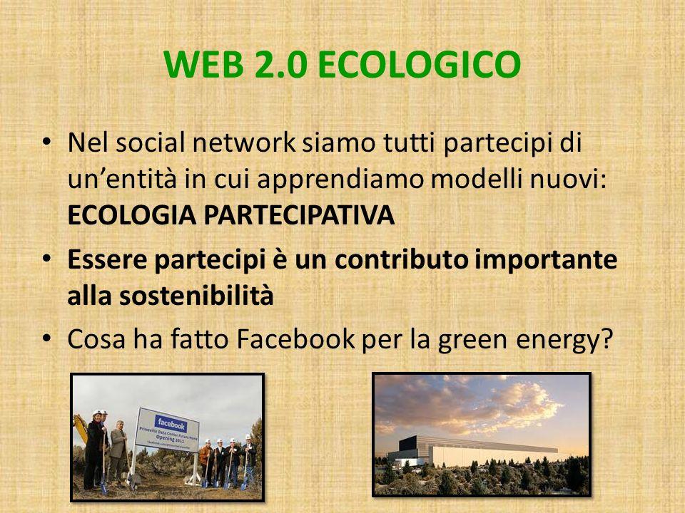 WEB 2.0 ECOLOGICO Nel social network siamo tutti partecipi di un'entità in cui apprendiamo modelli nuovi: ECOLOGIA PARTECIPATIVA.