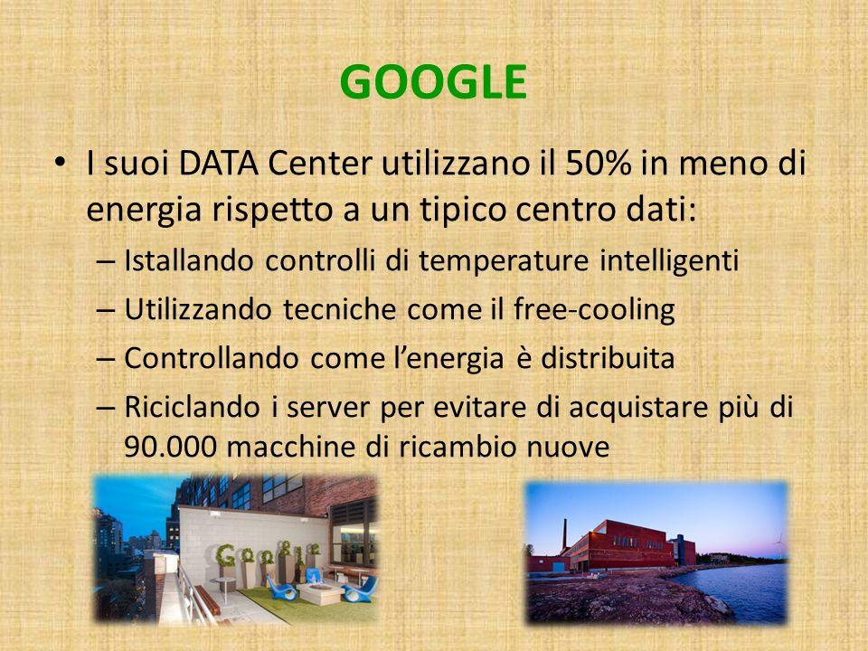 GOOGLE I suoi DATA Center utilizzano il 50% in meno di energia rispetto a un tipico centro dati: Istallando controlli di temperature intelligenti.