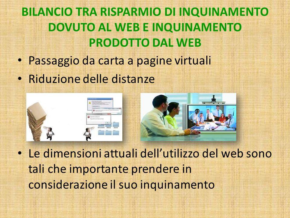 BILANCIO TRA RISPARMIO DI INQUINAMENTO DOVUTO AL WEB E INQUINAMENTO PRODOTTO DAL WEB