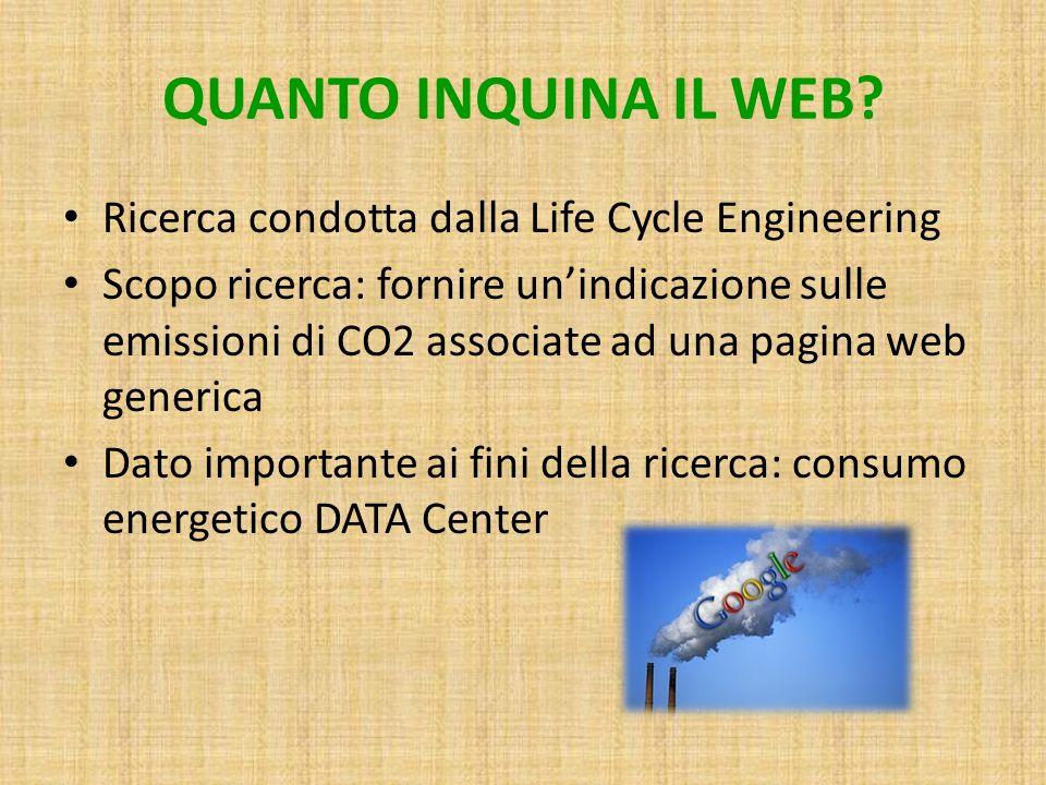 QUANTO INQUINA IL WEB Ricerca condotta dalla Life Cycle Engineering