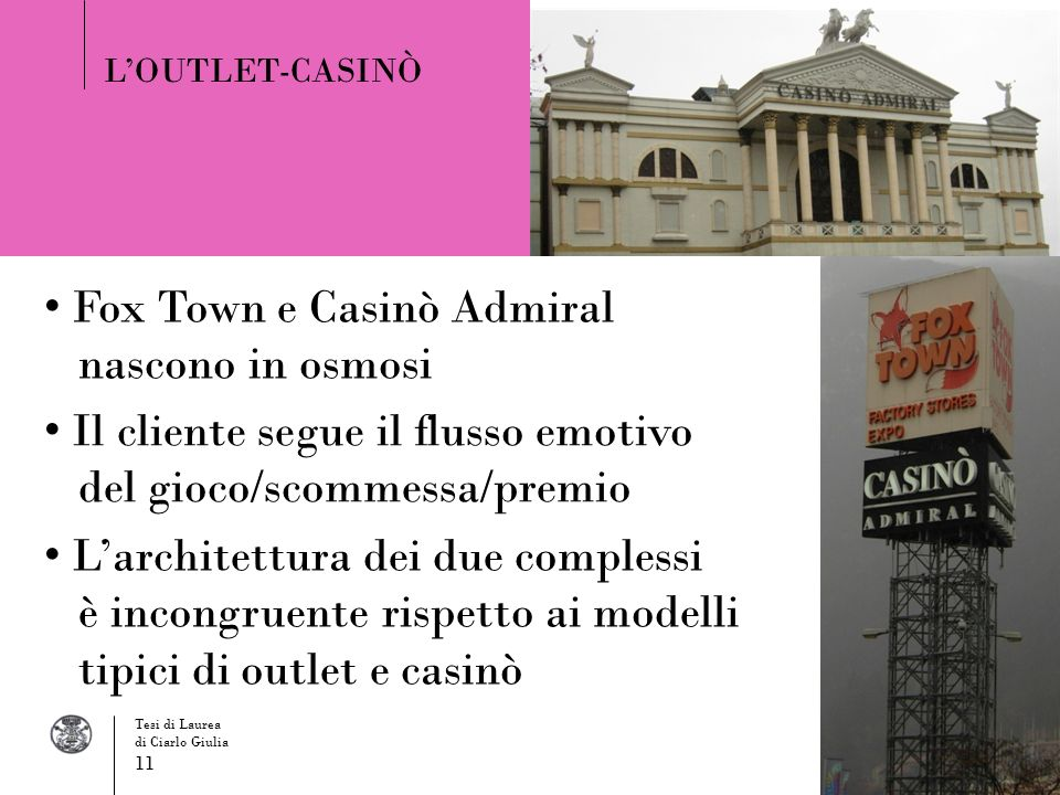 Fox Town e Casinò Admiral nascono in osmosi