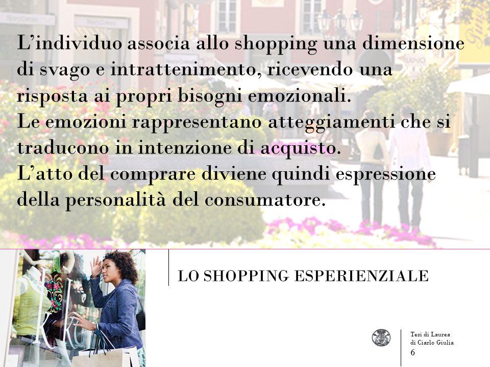 L'individuo associa allo shopping una dimensione di svago e intrattenimento, ricevendo una risposta ai propri bisogni emozionali.