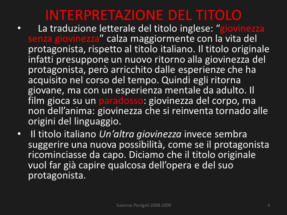INTERPRETAZIONE DEL TITOLO