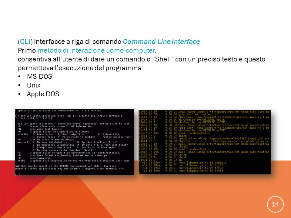 (CLI) Interfacce a riga di comando Command-Line Interface