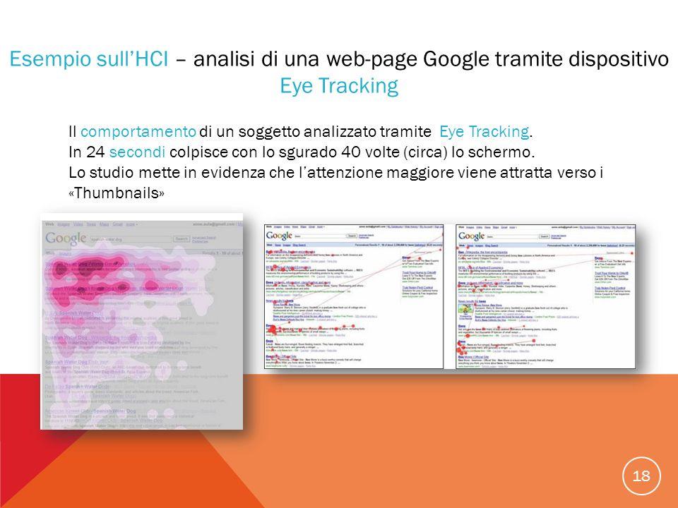 Esempio sull'HCI – analisi di una web-page Google tramite dispositivo Eye Tracking