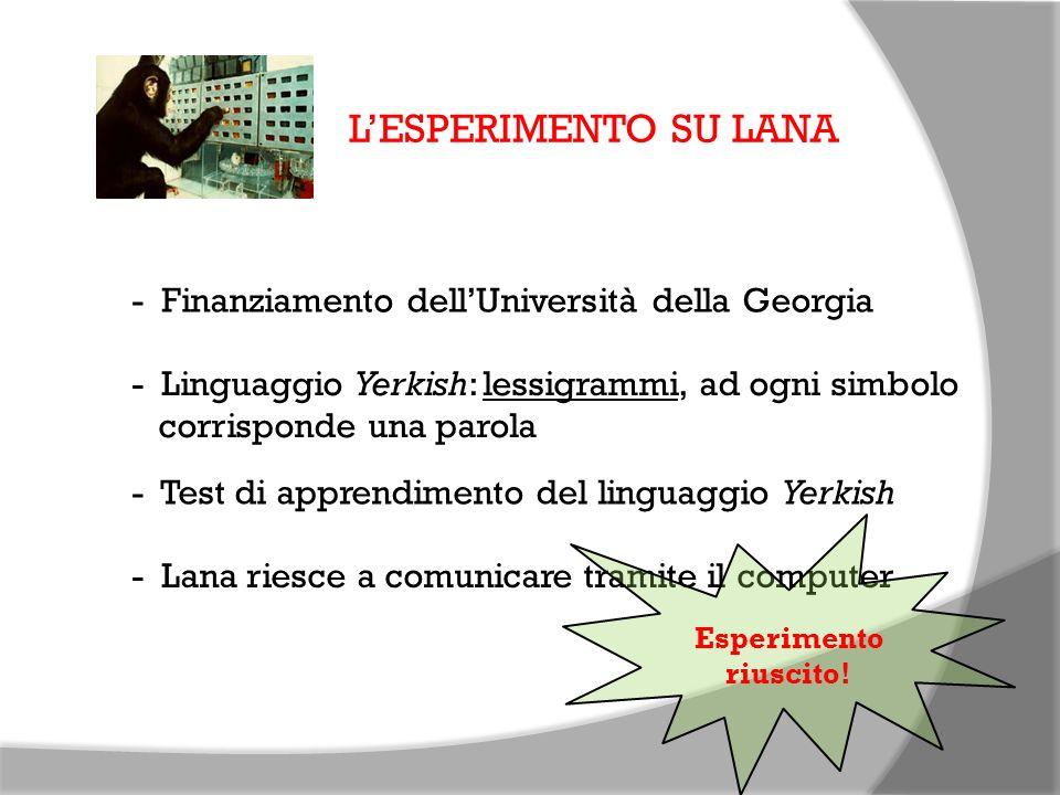 L'ESPERIMENTO SU LANA - Finanziamento dell'Università della Georgia