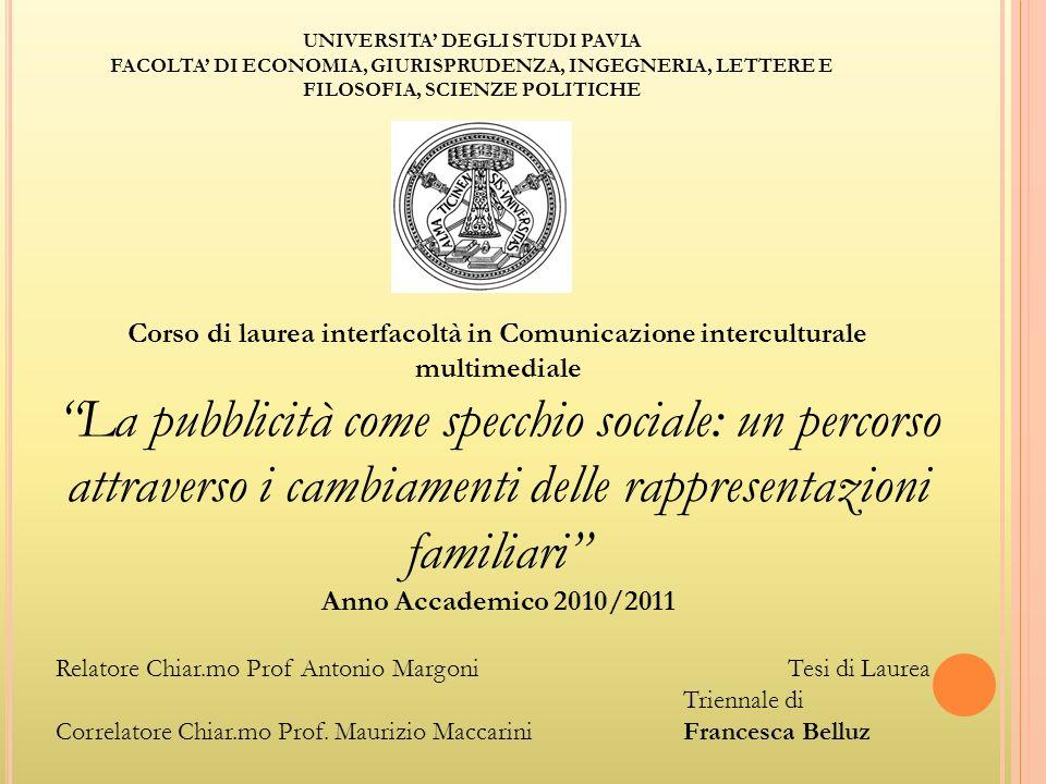 UNIVERSITA' DEGLI STUDI PAVIA FACOLTA' DI ECONOMIA, GIURISPRUDENZA, INGEGNERIA, LETTERE E FILOSOFIA, SCIENZE POLITICHE