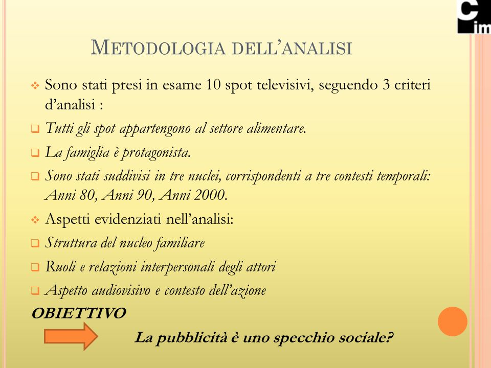 Metodologia dell'analisi