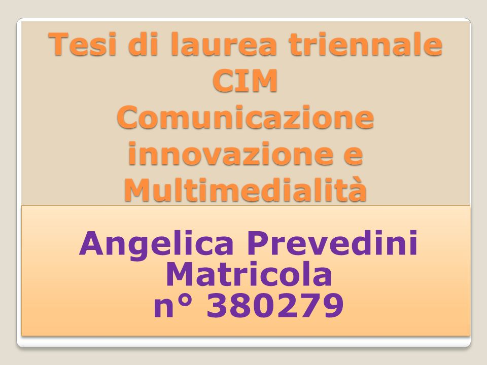 Angelica Prevedini Matricola n° 380279