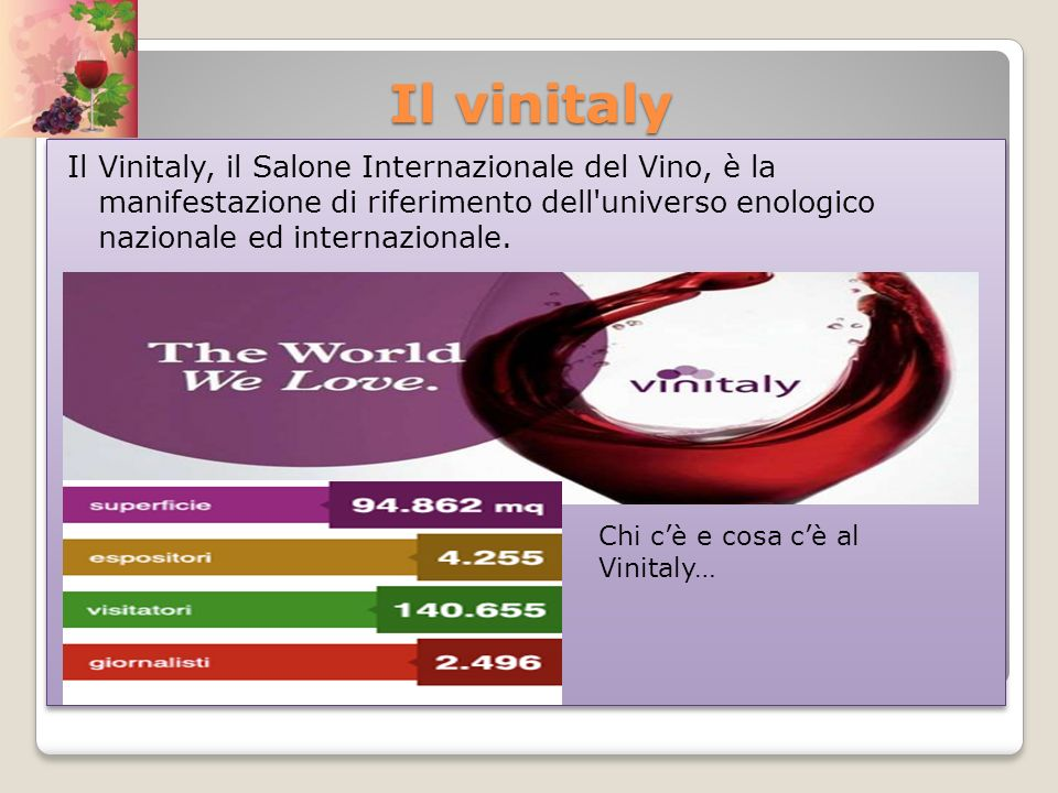 Il vinitaly Il Vinitaly, il Salone Internazionale del Vino, è la manifestazione di riferimento dell universo enologico nazionale ed internazionale.