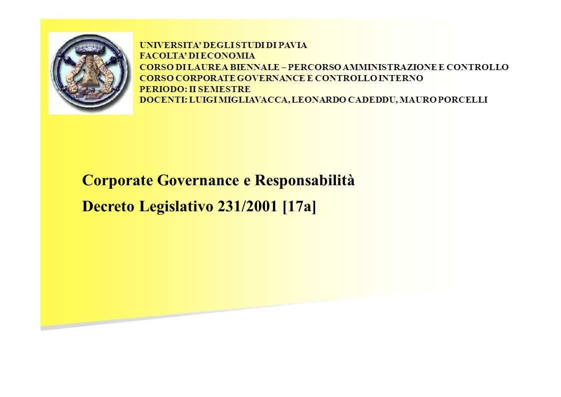 Corporate Governance e Responsabilità