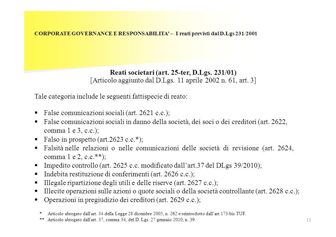 Reati societari (art. 25-ter, D.Lgs. 231/01)