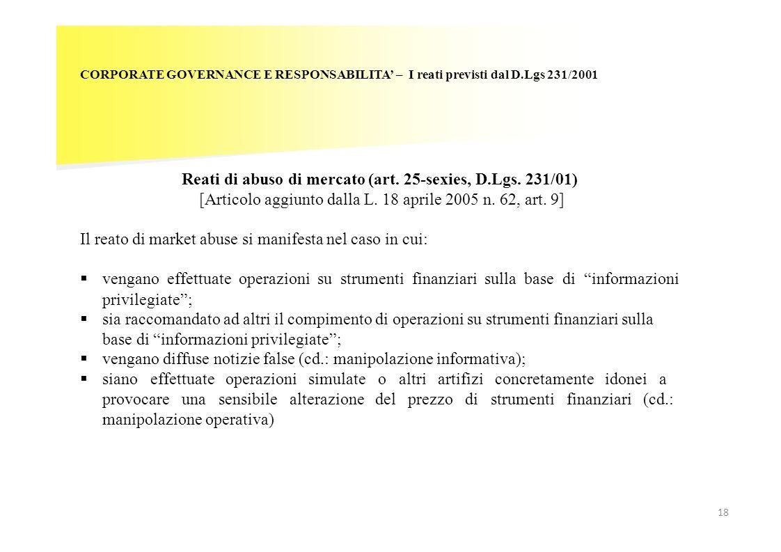 Reati di abuso di mercato (art. 25-sexies, D.Lgs. 231/01)