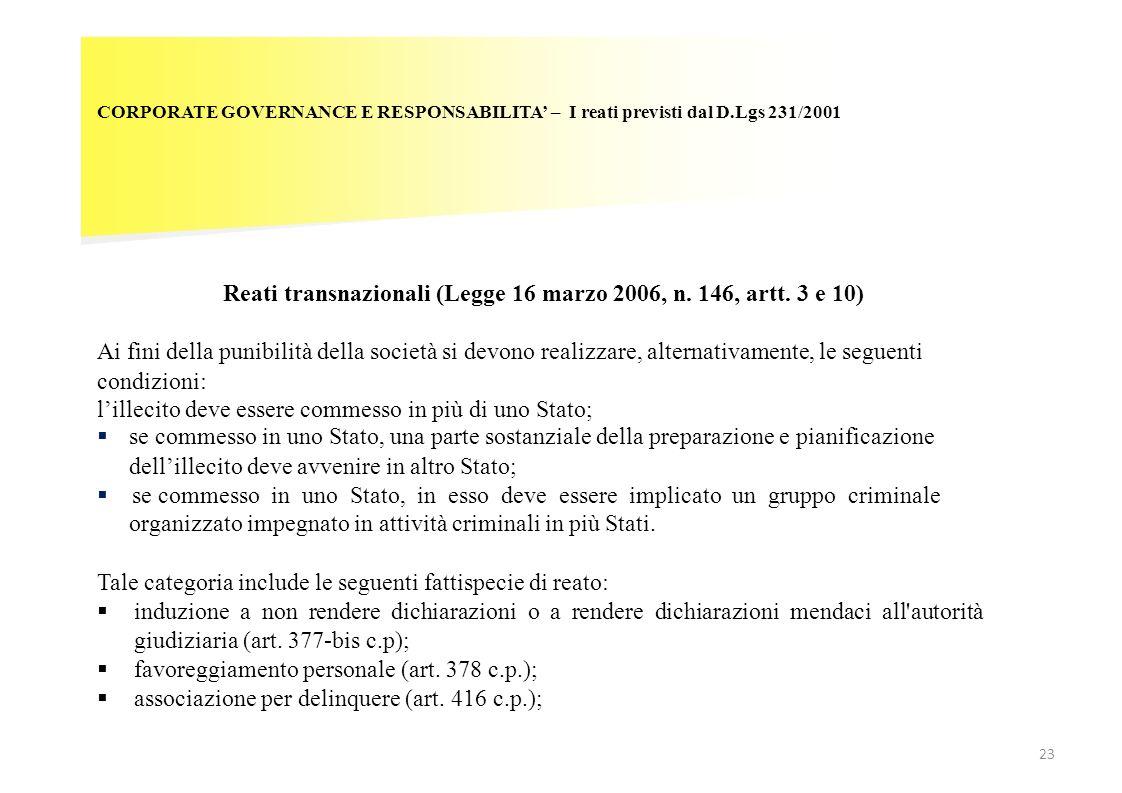 Reati transnazionali (Legge 16 marzo 2006, n. 146, artt. 3 e 10)