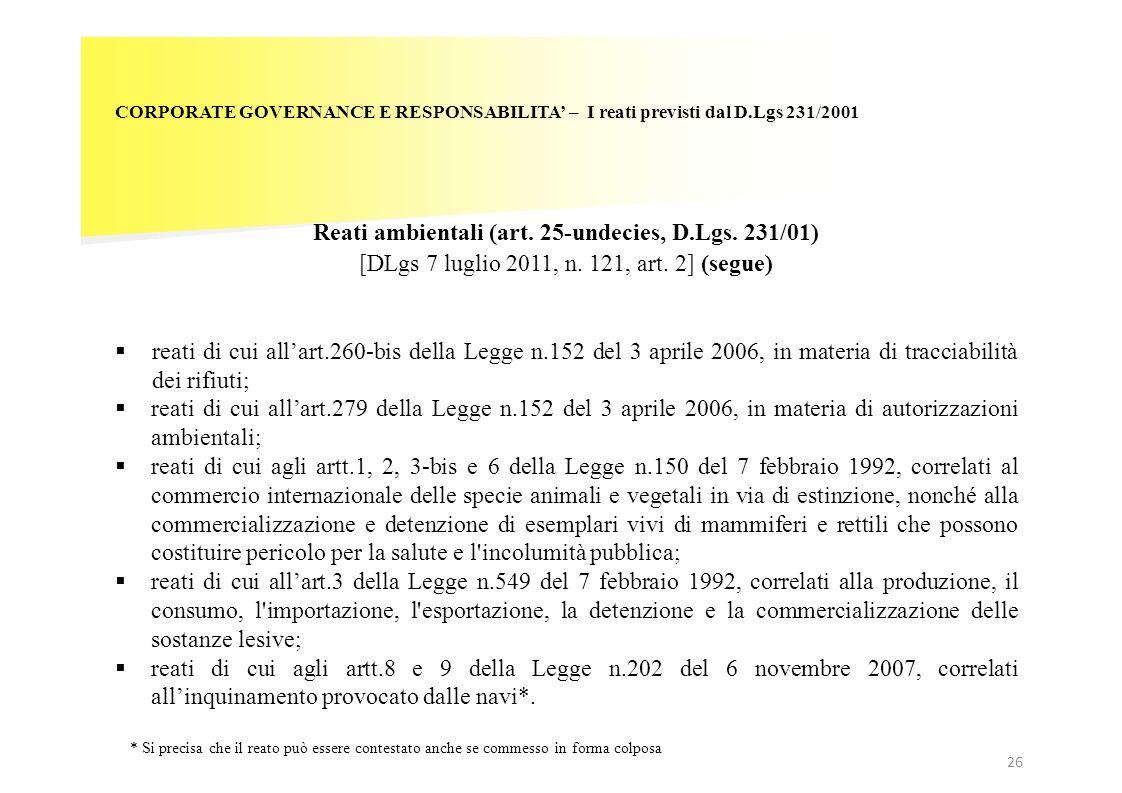 Reati ambientali (art. 25-undecies, D.Lgs. 231/01)