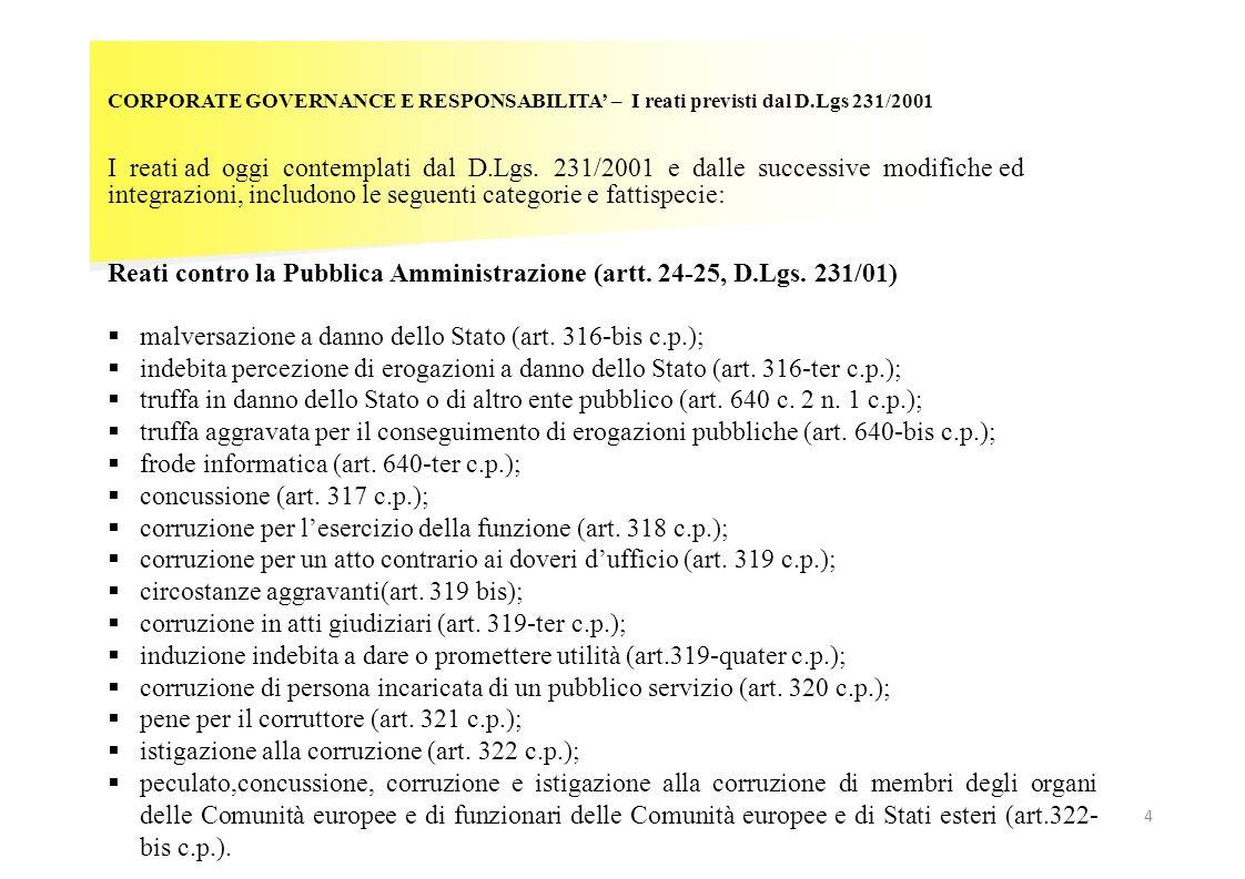 Reati contro la Pubblica Amministrazione (artt. 24-25, D.Lgs. 231/01)