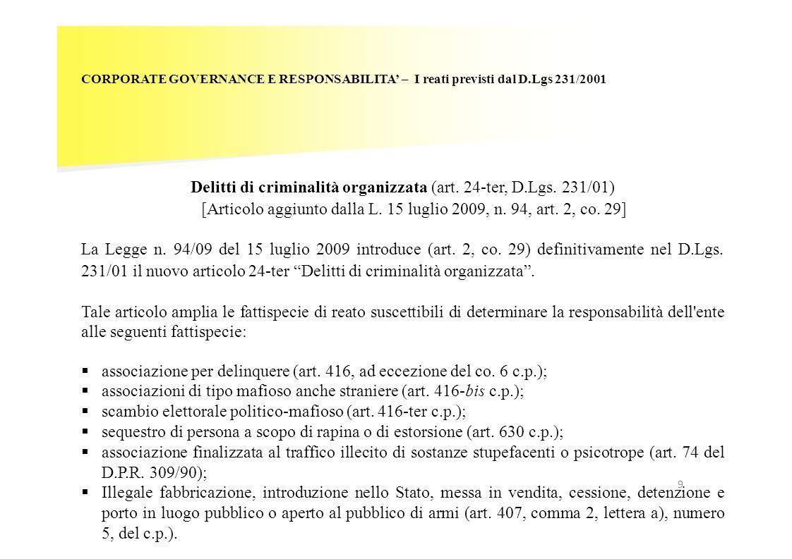 Delitti di criminalità organizzata (art. 24-ter, D.Lgs. 231/01)