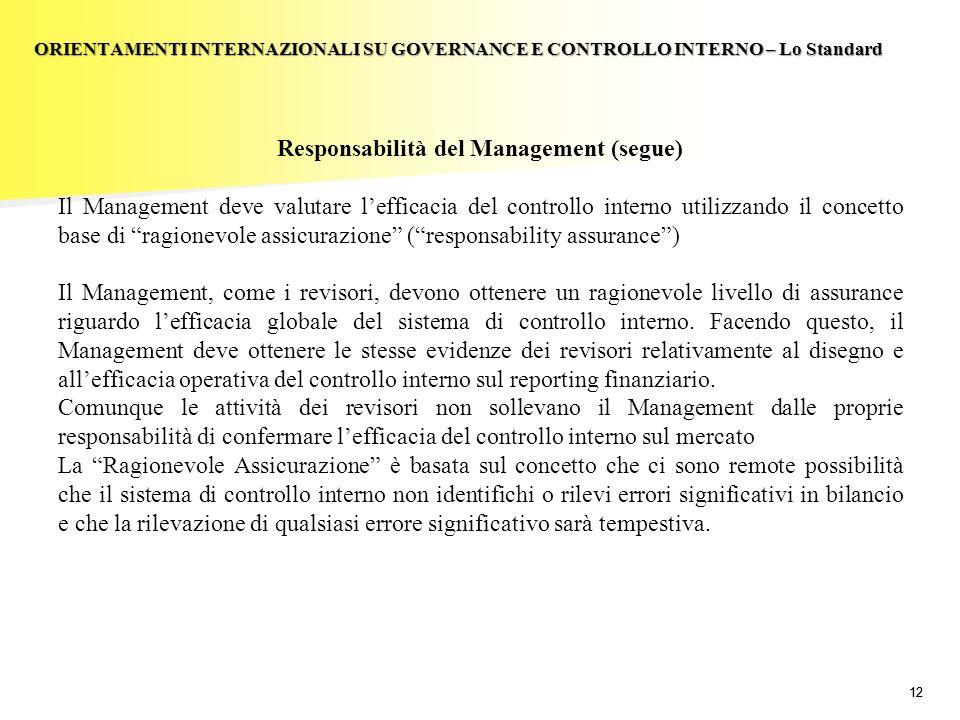 Responsabilità del Management (segue)