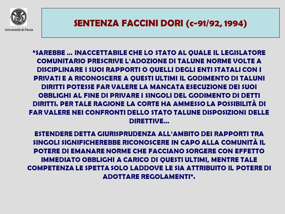 SENTENZA FACCINI DORI (c-91/92, 1994)